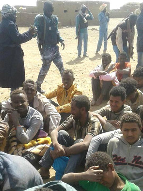 A group of Eritreans detained by Sudanese police (file photo)