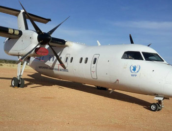 The DH8 passenger aircraft which experienced a blast in the landing gear during takeoff from Zalingei Airport on 5 December 2017 (Khartoum Post)