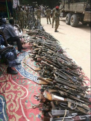 Collected weapons in Nyala, South Darfur, November 2017 (file photo)