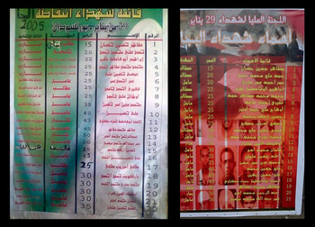 Posters in Red Sea state announce the 12th Anniversary of the Port Sudan 'massacre' and list the names of the victims of the 2005 tragedy (RD)