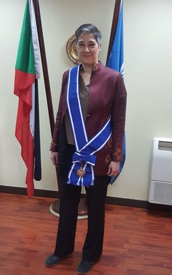 United Nations Resident and Humanitarian Coordinator in Sudan Marta Ruedas wearing the First-Class Order of the Two Niles received from President Omar Al Bashir (Picture: Supplied)