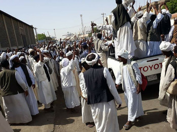 Workers strike in Port Sudan on 1 May (RD)