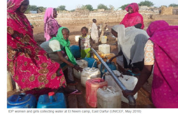Displaced women and girls collect water in El Neem camp in East Darfur in May 2018 (Photo: Unicef)