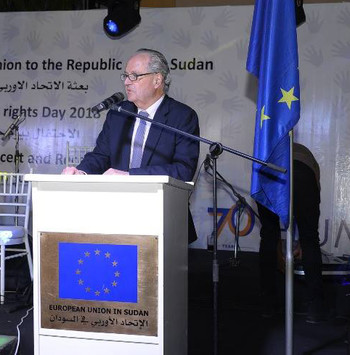 EU Ambassador to Sudan Jean-Michel, addresses the function in Khartoum to mark Human Rights Day on 10 Dec (Photo: EU)