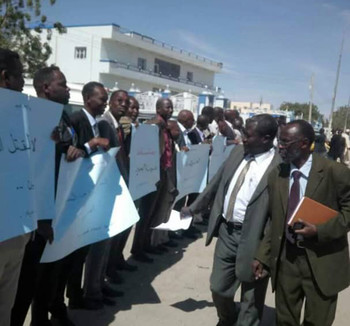 Lawyers protest in Nyala yesterday