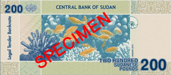 A specimen of the January 2019 edition of the SDG200 note issued by the Central Bank of Sudan