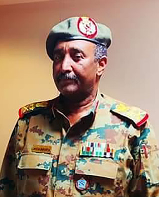 Lt Gen Abdelfattah El Burhan, Inspector-General of the Armed Forces, was sworn-in as new interim president on Friday evening (File photo)