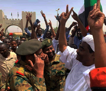 On Friday, Lt Gen Abdelfattah Burhan was seen speaking to one of the leaders of the opposition Sudanese Congress Party,