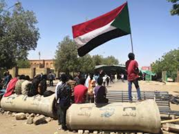 Barricades near the sit-in in Khartoum (file photo)