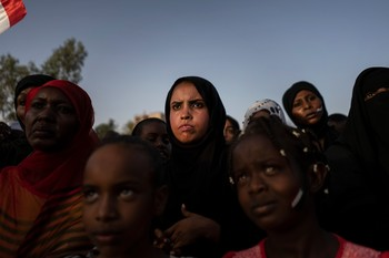 Sudanese women protesting against the military junta, Khartoum, April 26, 2019 (Fredrik Lerneryd/Getty Images)