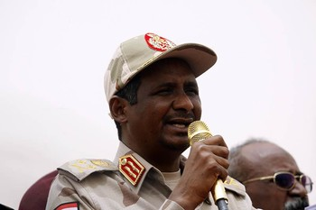 Deputy Chairman of Sudan's Sovereign Council and the head of the Sudanese delegation to the peace talks in the South Sudanese capital of Juba, Lt Gen Mohamed Hamdan 'Hemeti' (File photo: SUNA)