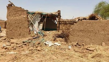 A home destroyed by heavy rains and flash floods in Tawila, North Darfur (Fule photo)