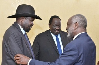 President Salva Kiir meets with JEM leader Jibril Ibrahim, Juba, August 14, 2019 (SSPPU)