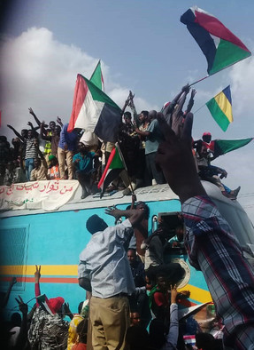An iconic moment of the Sudanese revolution as the 'Freedom Train' arrives in Khartoum from Atbara in August 2019 (RD)