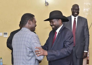South Sudan's President Salva Kiir meets with SLM leader Minni Minawi in Juba, August 20, 2019 (SSNA)