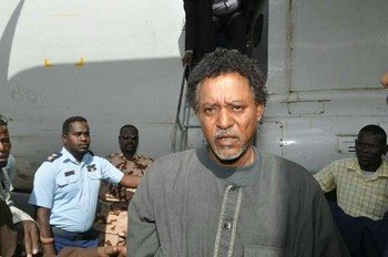 A bewildered Musa Hilal arrives in Khartoum after his arrest in Darfur in 2017 (RD)
