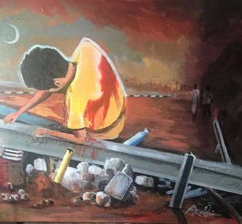 Painting depicting the suffering of Sudanese people (By Sudanese artist Najm Al Din Al Atbarway)