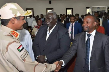Member of Sudan's Sovereign Council and commander of the Rapid Support Forces (RSF) militia, Lt Gen Mohamed Hamdan 'Hemeti' greets SRF deputy chairman Malik Agar, and chairman El Hadi Idris, in Juba yesterday (Social media)