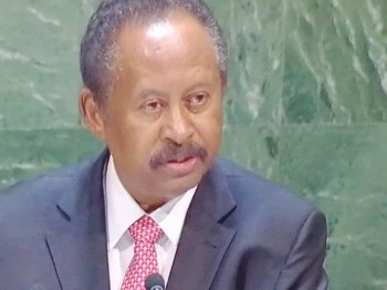 Prime Minister Abdallah Hamdouk at the United Nations General Assembly, asking the USA to lift all sanctions against Sudan (UN)