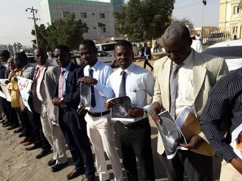 Members of the Darfur Bar Association stage a vigil in Khartoum (File photo)