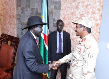 South Sudan President Salva Kiir meets the head of the Sudan government delegation, Deputy Chairman of the Sovereign Council, Mohamed Hamdan 'Hemeti' in Juba today (SUNA)