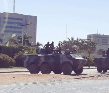 Army troops guarding roads in Khartoum on Tuesday afternoon (Social media)