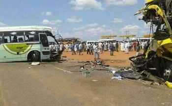 One of the busses involved in the traffic accident in Omdurman yesterday (Social media)
