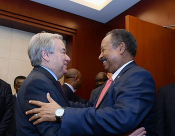 Secretary-General of the United Nation, António Guterres, meets Sudan Prime Minister Abdallah Hamdok at the AU summit in Addis Ababa today (RD)
