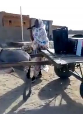 Maryam Hussein campaigning in West Darfur with a loudspeaker on a donkey cart (RD)