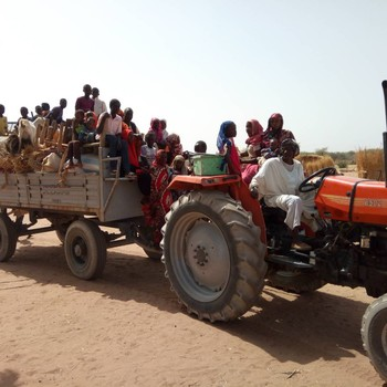 People fleeing the Kass area in South Darfur last week (Social media)