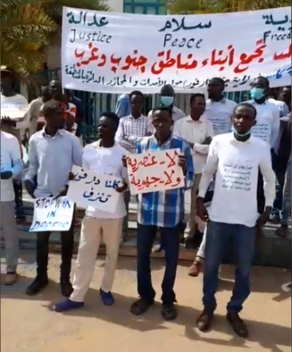 People from Kass living in Khartoum protest against the insecurity in South Darfur (Social media)