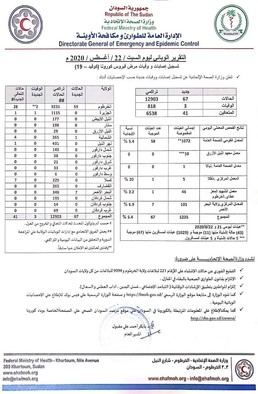 Covid-19 numbers in Sudan as of August 22 (Sudan Ministry of Health).