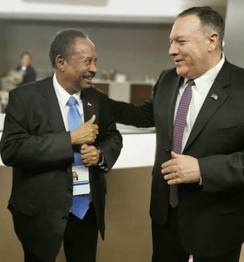 US Secretary of State Mike Pompeo meets Sudan's PM Abdallah Hamdok earlier this year in Khartoum (SUNA)