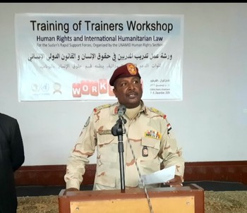 Brig Gen Mohamed Abbas, head of the RSF Training Department, at a UNAMID training on international humanitarian law on Monday (RSF)