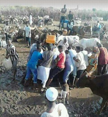People crowding at a water well in southern Sudan (Social media)