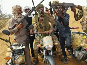 Gunmen on motorcycles in Darfur (Social media)