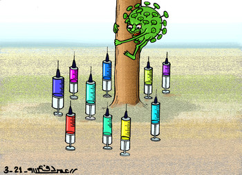 COVID-19 and vaccines - Cartoon by Omar Dafallah (RD)