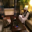 File photo: Ghazi Salah Eldin Atabani, the head of the Reform Now Movement sits with El Sadig El Mahdi (NUP) in Addis Ababa after his arrival on 24 August 2015.