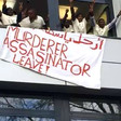 Sudanese activists from a Hannover refugee camp stormed the Embassy with banners, calling for the arrest of Al Bashir and extradition to the ICC (correspondent)