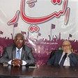 Osman Mirghani, editor-in-chief of El Tayar (L) at a press conference in 2015 (Sudan Tribune)