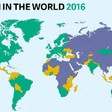 Freedom House 2016 map of free (green), partly free (yellow), and not free (purple) countries in the world.