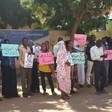 Protesters in front of the Human Rights Council in Khartoum calling for the release of Darfuri women students, 16 October 2014 (RD)