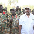 Yasir Arman, Secretary-General of the Sudan People's Liberation Movement - North (SPLM-N) with military commanders in the Nuba mountains (File photo)