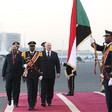 The President of Belarus, Alexander Lukashenko inspects a guard of honour with Sudan's President Omar Al-Bashir on arrival in Khartoum (gov.by)