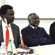 Rebel leaders Minni Arko Minawi (L) and Jibril Ibrahim (M) at a meeting of the Sudan Call in Paris, 2017. At their left is Yasir Arman, deputy head of the Sudan People's Liberation Movement-North faction led by Malik Agar (RD)