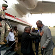 Sudan's Vice President, Hassabo Abdulrahman is greeted by North Darfur Governor Abdel Wahid Yousif on arrival at El Fasher airport on Monday 7 Aug 2017 (SUNA)