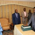 Salah Abdallah (Gosh) takes the oath of office before President Al Bashir, Khartoum, February 11, 2018 (SUNA)