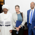 In Khartoum on February 21. Second to right is Canadian Ambassador Salah Bendaoud with UN Resident and Humanitarian Coordinator Marta Ruedas (M) (UN)
