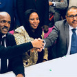 Najla Mohamed Ali of the civil society organisations, El Amin Daoud, head of the United Popular Front for Liberation and Justice, and Osama Saeed, secretary-general of the Beja Congress, on the signing of the Memorandum of Understanding in Paris (RD)