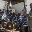 African Union Commissioner for Peace and Security, Ambassador Smail Chergui addresses community leaders in Zamzam camp yesterday (Photo: Mohamad Almahady / Unamid)